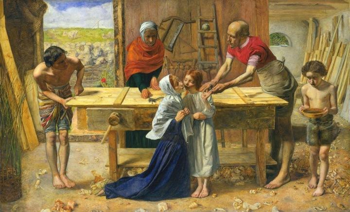 Cristo en casa de sus padres, Millais, 1850