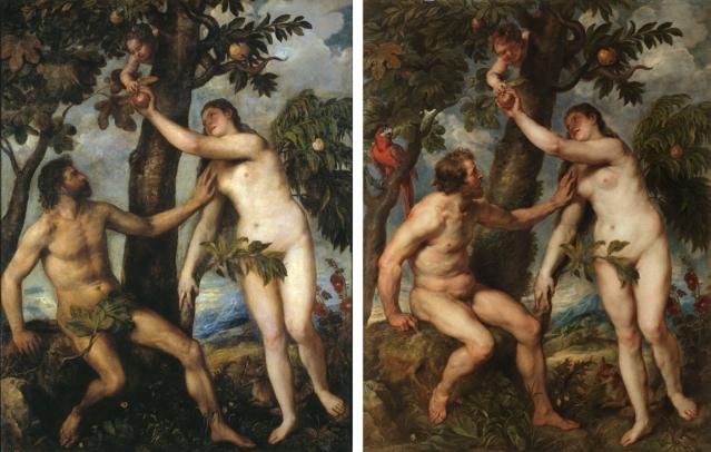Adán y Eva pintados por Tiziano (h.1550) y por Rubens (1628-1629), Museo del Prado, Madrid