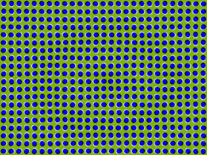 cuando observamos la imagen los detectores de movimiento en tu corteza visual son confundidos por los brillos colocados estratégicamente y piensan que se algo se mueve en esos malditos dibujos.