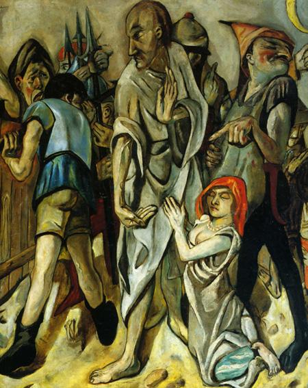 Max Beckmann. Cristo y la adúltera. 1917.