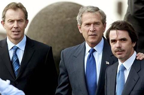 Aznar en las Azores con sus amigos Blair y Bush