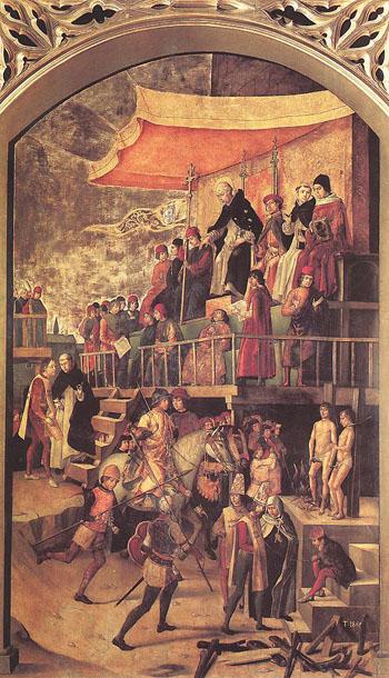 Auto de Fe, 1495. La escena representa la ejecución de dos albigenses por un Tribunal de la Inquisición presidido por Santo Domingo