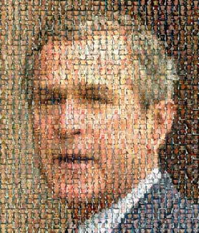 Composición del rostro de Bush con las caras de los caidos en la guerra de Iraq