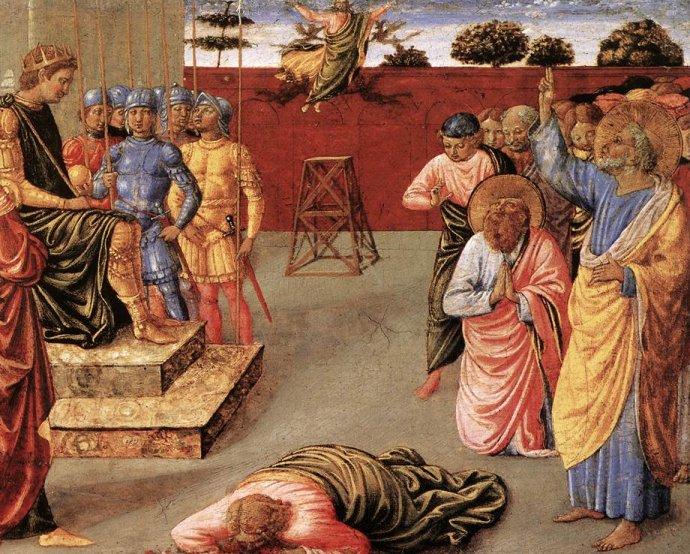 La Caida de Simón el Mago (1400) (Simón el Mago en el suelo, Nerón en el trono, Pedro de rodillas rezando y Juan haciendo la señal de la cruz)