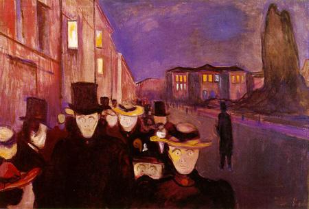 E. Munch. Tarde en la calle Karl Johann. 1892