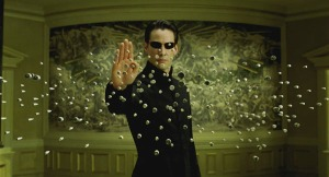 Neo stops bullets Keanu Reeves (Neo) en Matrix Reloaded