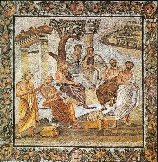 La Academia de Platón. Mosaico de Pompeya, s. I.