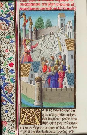 Platón persiguiendo por la ciudad a un grupo de danzantes desnudos MMW, 10 A 11, fol. 388v, libro 8, 21