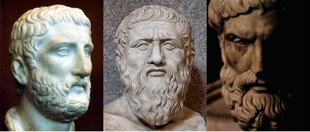 Demócrito, Platon y Epicuro