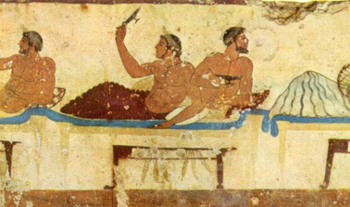 Symposium. Pared norte de la Tumba del Nadador. Paestum, 470 a. C.