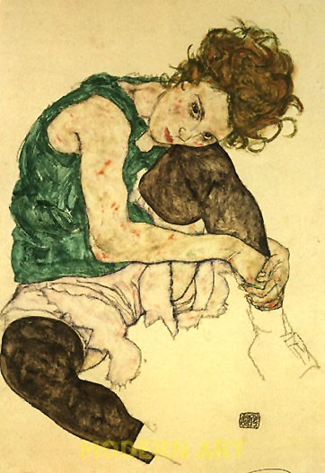 Schiele, Seated Woman with Bent Knee, 1917 Narodni Galerie, Prague.