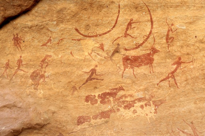 Caza de búfalos, Tassili n'Ajjer, Sáhara, Argelia