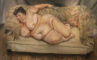 "Benefits Supervisor Sleeping, 1995, retrato de ""Big Sue"" Tilley. La casa de subastas Christie's la vendió en Nueva York por 33.6 millones de dólares."
