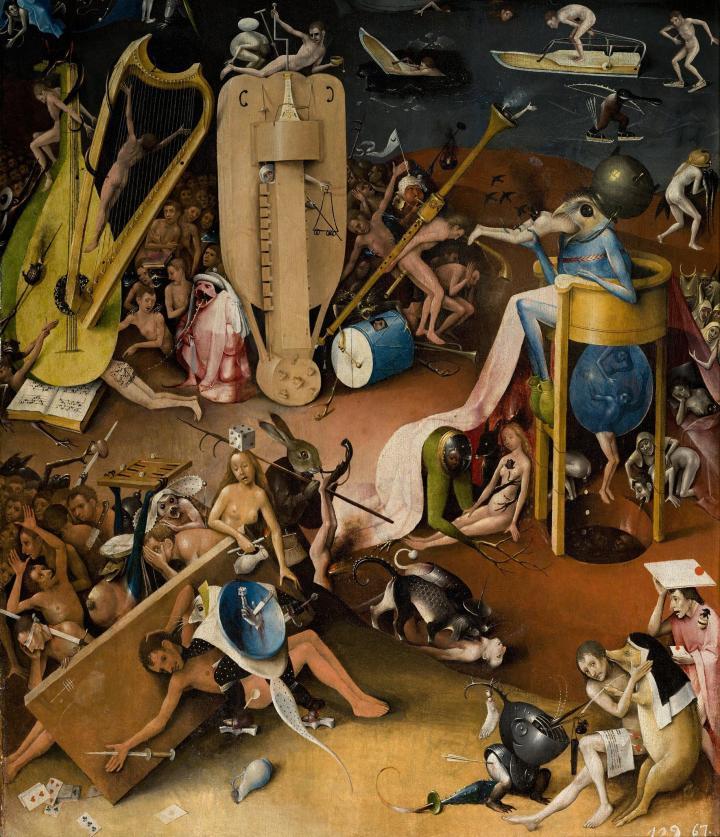 El Bosco: El Jardín de las delicias, panel derecho, detalle, s. XIV. Museo del Prado.
