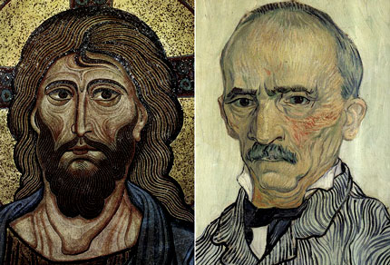 Van Gogh: Retrato de Trabuc (1889) junto a un icono bizantino de 1150.
