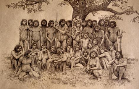 Recreación de un grupo de Homo heidelbergensis,en base a los restos hallados en la Sima de los Huesos.