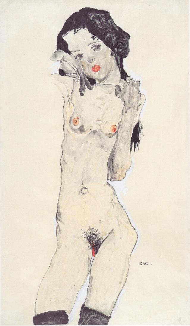 Muchacha desnuda con el pelo negro (1910).