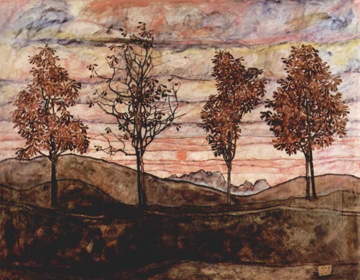 Cuatro árboles (1917).