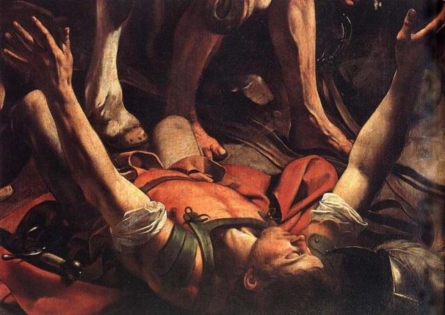 Detalle del cuadro de Caravaggio La conversión de San Pablo.Momento crucial en que Pablo se percató de las ventajas que podía suponer el tergiversar lo dispuesto por Jesús de Nazaret.