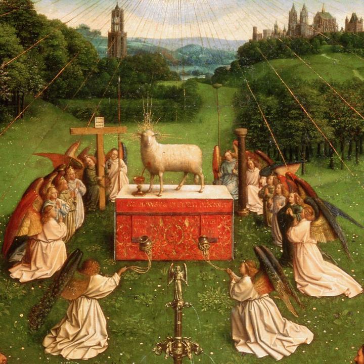 Van Eyck: La adoración del cordero místico. Detalle.