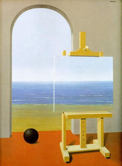 Magritte: La condición humana (1935, Museo Magritte, Bruselas). Por cierto, espléndido el diseño del museo, hasta el lavabo parecía una obra de arte.