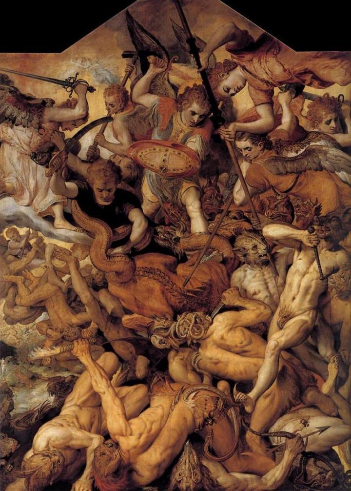 Frans Floris de Vriendt: La caída de los ángeles rebeldes (1554).