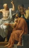 criton apoya la mano en el muslo de Sócrates