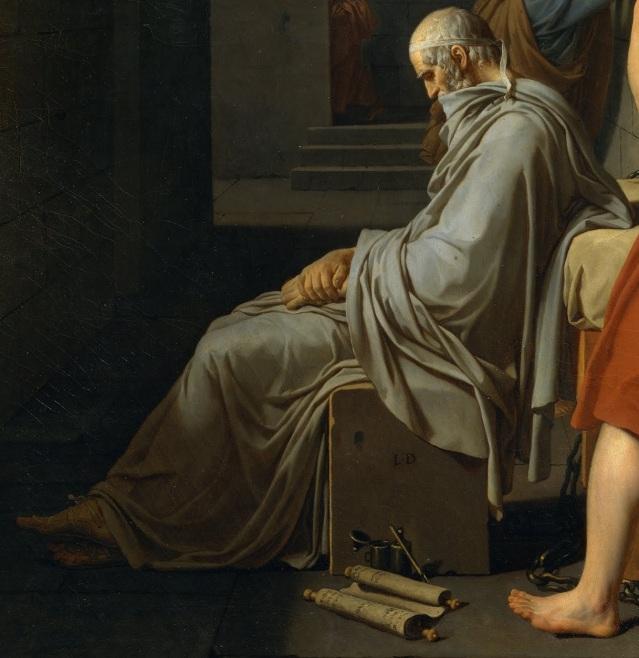 Jacques Louis David: La muerte de Sócrates (Platón, detalle)