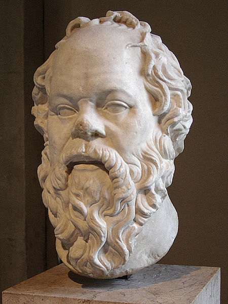 Portrait of Socrates. Marble, Roman artwork (1st century), perhaps a copy of a lost bronze statue made by Lysippos Louvre