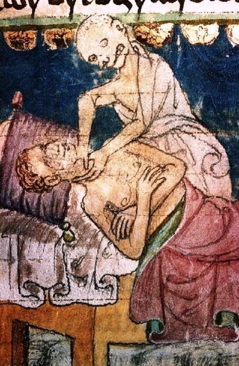Death Strangling a Victim of the Plague (Detail). Stiny Codex, 14th century. University Library, Prague, Czech Republic.