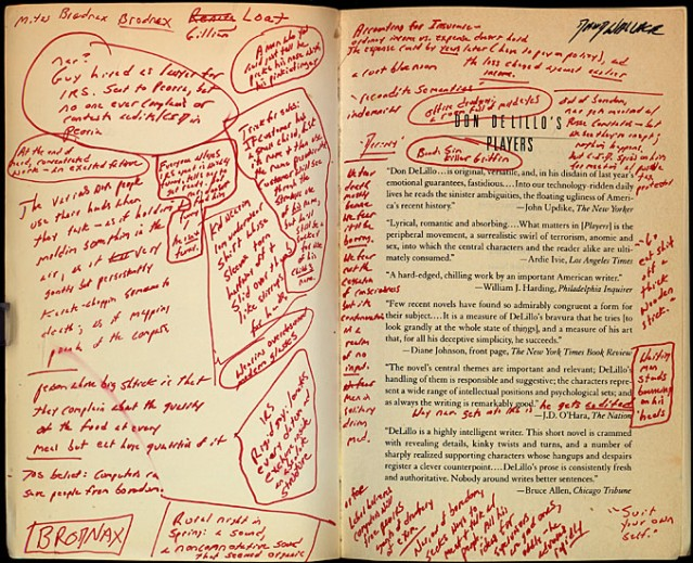 Inside cover of David Foster Wallace's annotated copy of Don DeLillo's Players. Harry Ransom Center.