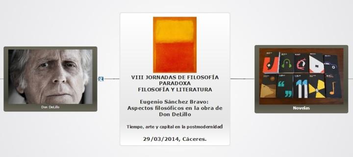 """VIII Jornadas de Filosofía Paradoxa. Eugenio Sánchez Bravo: """"Aspectos filosóficos en la obra de Don DeLillo: tiempo, arte y capital en la postmodernidad."""""""