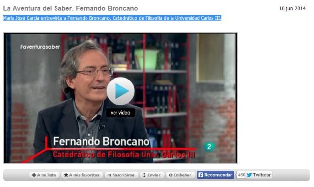 La aventura del saber. Fernando Broncano.