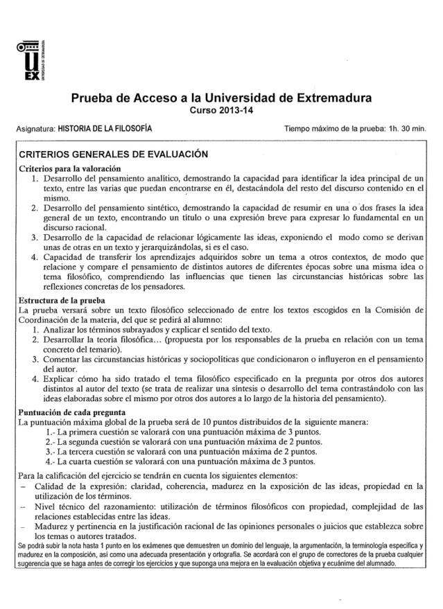 criterios generales evaluacion pau junio 2014