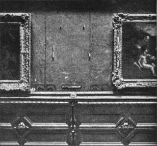 El hueco dejado por el robo de la Mona Lisa en 1911.