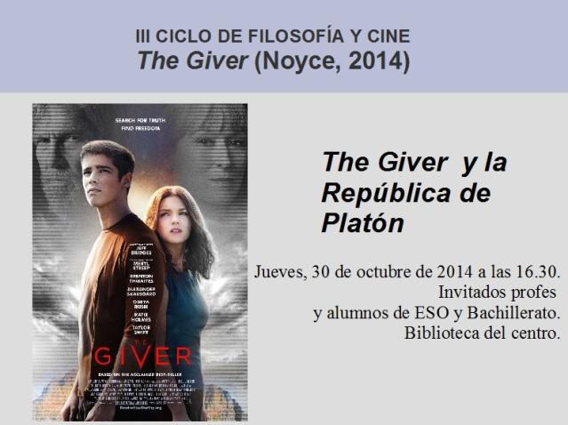 Marcos Manrique Crespo: The Giver y la República de Platón.