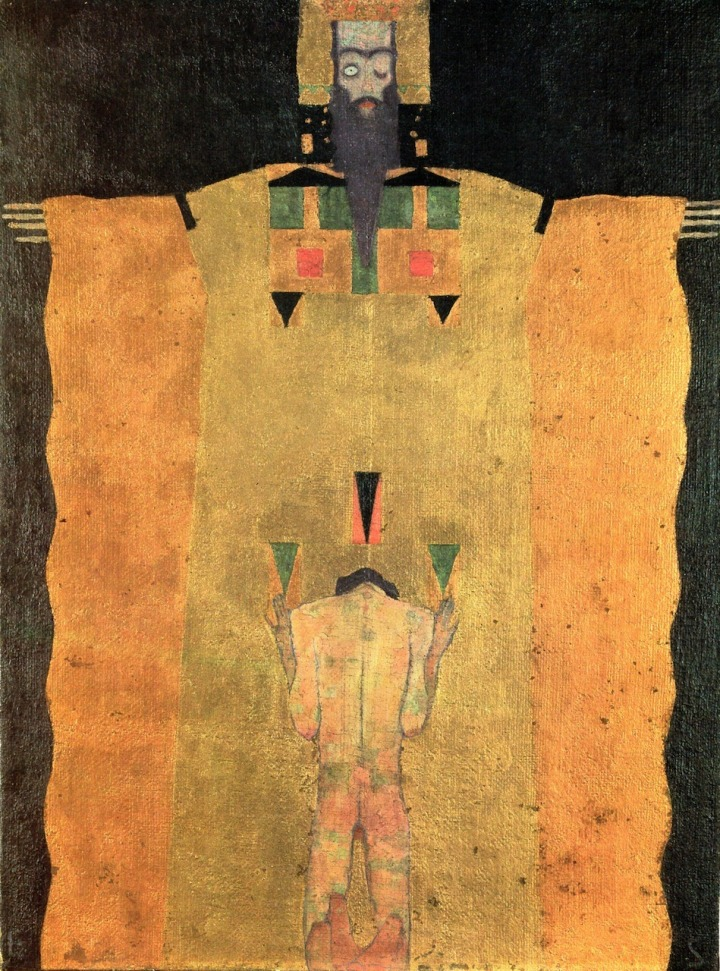 Egon Schiele, Young Man Kneeling Before God the Father, 1908
