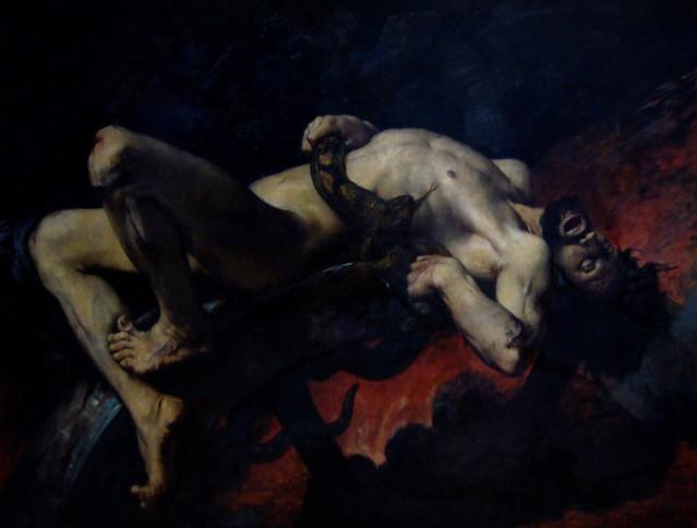 J. Elie Delaunay: Ixión arrojado a los infiernos. (1876). Ixión, castigado por los dioses por asesinar a su yerno e intentar seducir a Hera, es atado con serpientes a una rueda que nunca se detiene. Es una analogía del deseo humano que, cumplida una apetencia momentánea, esta es rápidamente sustituida por una nueva necesidad, produciéndonos una insatisfacción e infelicidad permanentes.