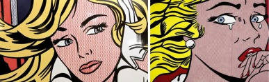 Left, Roy Lichtenstein, and Right, Elaine Sturtevant.