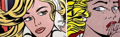 Left, Roy Lichtenstein, and Right, Elaine Sturtevant.