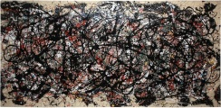 Pictured is a 1983 appropriation of Pollock's work by Mike Bidlo