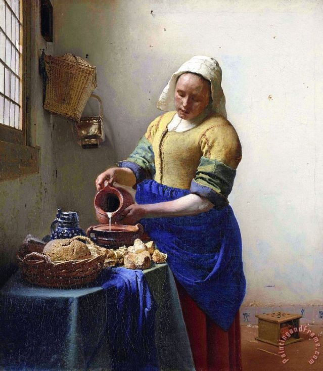 The Milkmaid Painting by Johannes Vermeer.