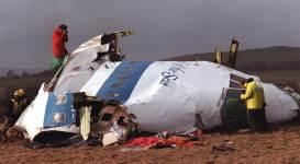 Wreckage of Pan Am Flight 103 in Lockerbie, 1988