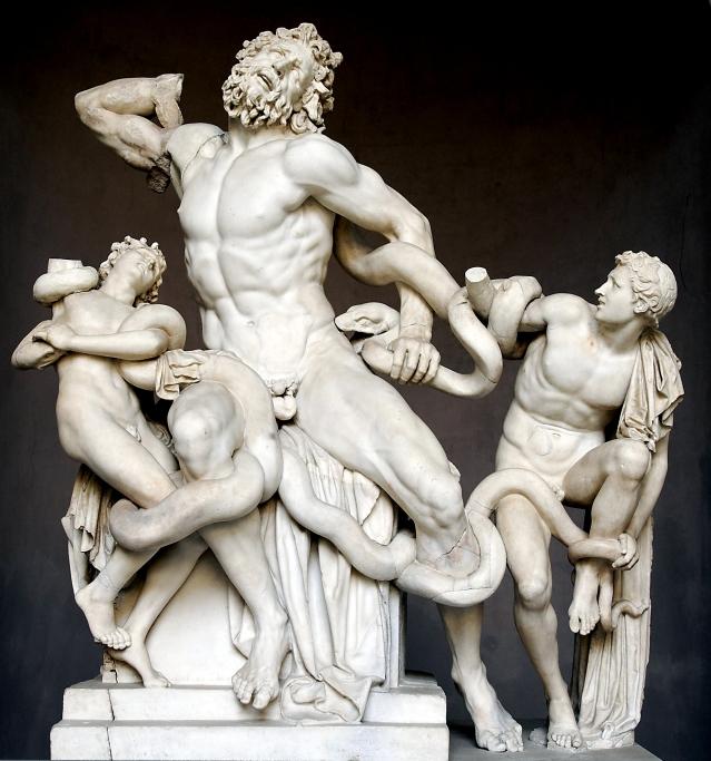 Laocoonte y sus hijos deAgesandro, Polidoro y Atenodoro de Rodas. Museo Pío-Clementino, Ciudad del Vaticano.