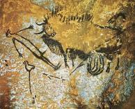 Cueva de Lascaux, Dordoña, Suroeste de Francia: bisonte y hombre pájaro con erección.