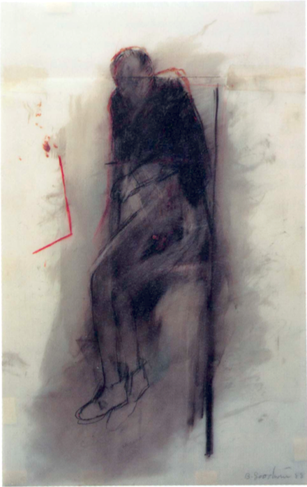 betty-goodwin-seated-figure-with-red-angle-1988
