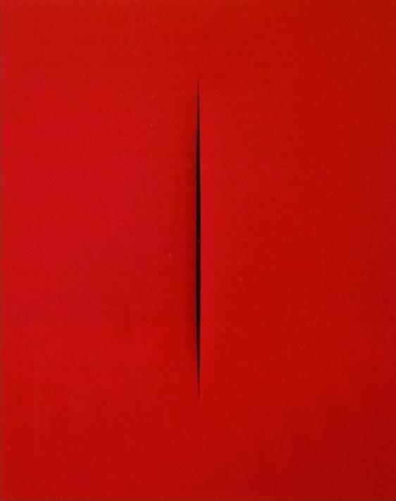 Lucio Fontana: Concepto espacial (rojo), 1965.
